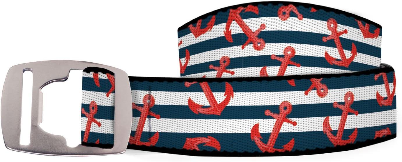 CROCY Artisan 1 Belt, Bottle Opener Buckle, Anchor Stripes, 42 Croakies