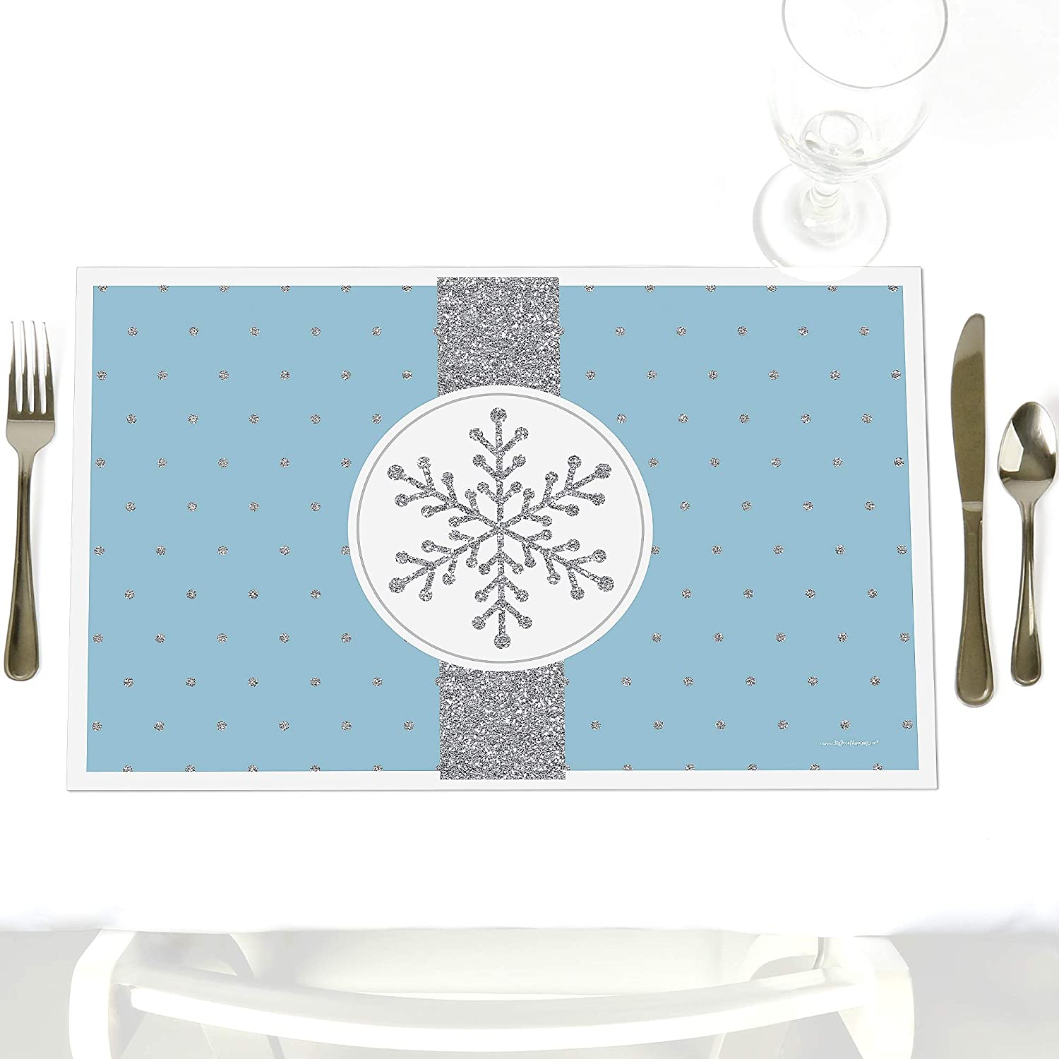 Winter Wonderland Party Table Decorations Snowflake Holiday Wedding Placemats Set Of 12