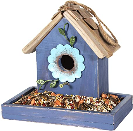 Bird House Decorative Bird in Tree Cedar Blue  Feeder Backyard  Design printed