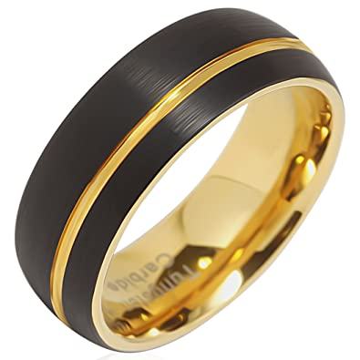 100s Jewelry Tungsten Rings For Men Wedding Bands 14k Gold Plated