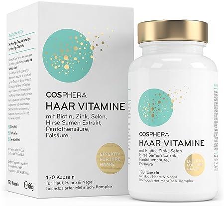 Cosphera Haar-Vitamine - Hochdosiert mit Biotin, Selen, Zink, Folsäure, Hirse Samen Extrakt - 120 vegane Kapseln im 2 Monatsv