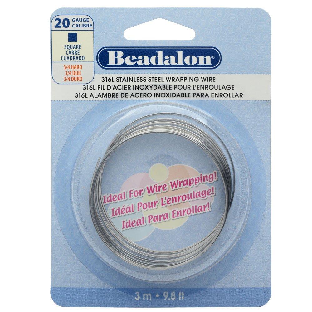 Amazon.com: Beadalon Square Wire 316L Stainless Steel 20 Gauge, 3-Meter