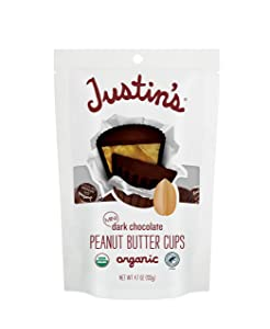 Justin's Nut Butter Organic Mini Dark Chocolate Peanut Butter Cups, Rainforest Alliance Certified Cocoa, Gluten-free, Responsibly Sourced, 6 Stand-up Bags, 4.7oz each, White