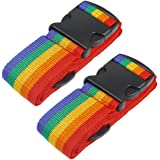 Heavy Duty Luggage Straps for Suitcases Packing Belts Travel Accessories Adjustable Bag Strap 2 Pack Rainbow