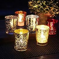 Mobestech 12 Piezas de Vidrio votivo candelabro Exquisito
