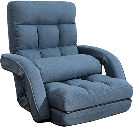 Floguor 42 Position Adjustable Floor Chaise Lounge Sofa Folding Lazy Sofa With Armrests And A Pillow Padded Gaming Chair For Living Room Bedroom Factory Price Blue 8803bl Kitchen Dining