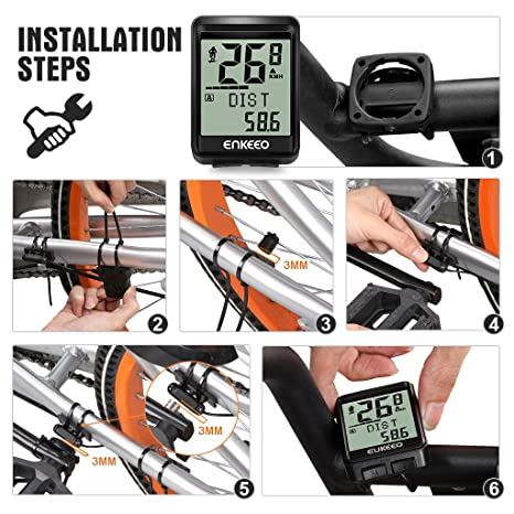 enkeeo ordenador para bicicleta inalámbrico 2.4 G Transmisión con sensor de cadencia, velocímetro, bici odómetro con 17 funciones a pista Distancia, ...