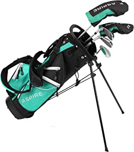 Aspire Junior Plus Complete Golf Club Set for Children, Kids - 5 Age Groups Boys and Girls - Right Hand, Real Girls Junior Golf Bag, Kids Golf Clubs Set