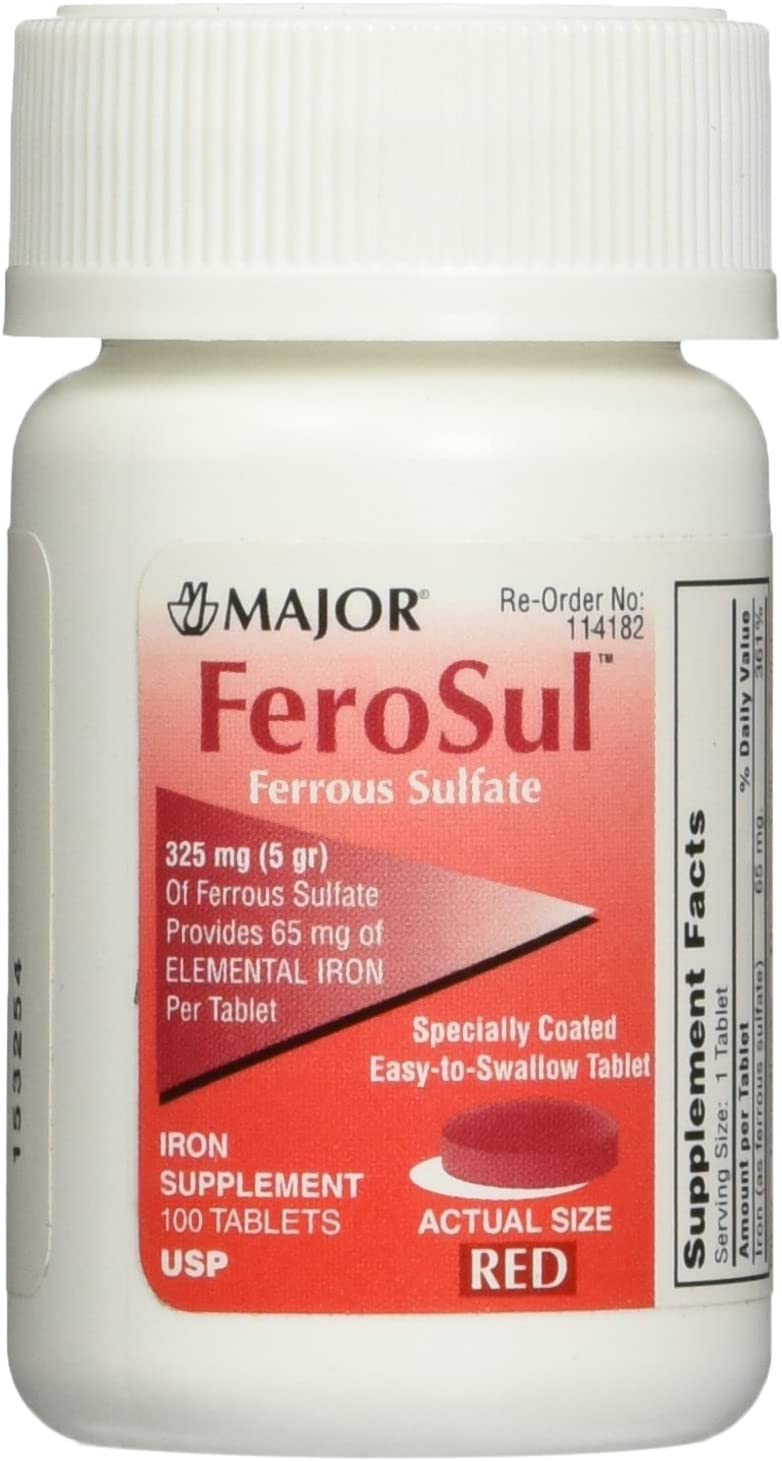 Major FeroSul Ferrous Sulfate 325mg, 100 Iron Supplement Tablets each (Value Pack of 3)