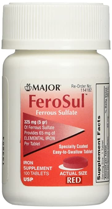 [3 PACK] FeroSul® 325mg (5GR) Ferrous Sulfate Coated Easy
