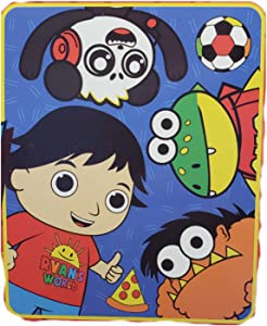 Franco Manufacturing Ryan World Soft Plush Throw, Print of Ryan with Friends, 40 Inches x 50 Inches
