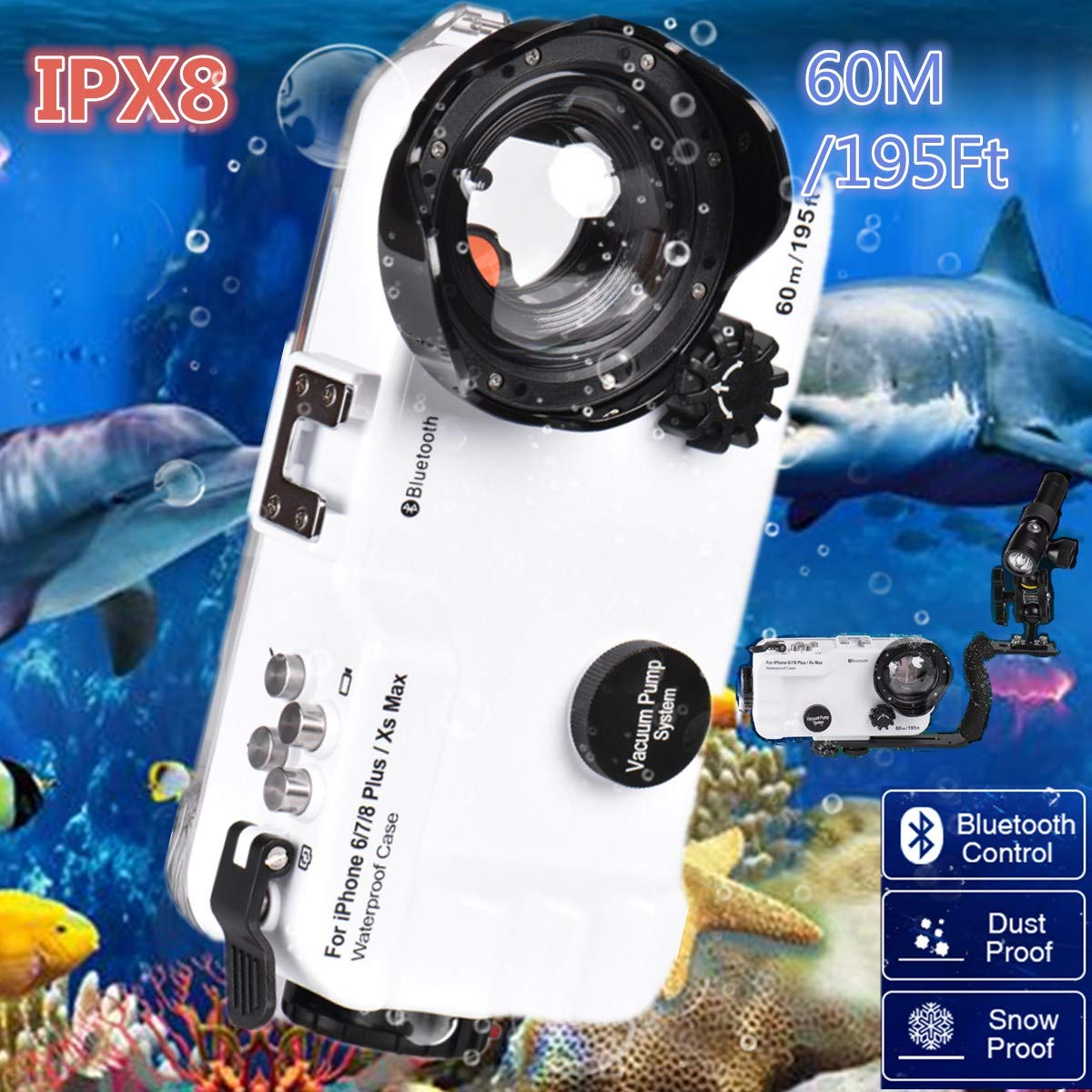 BECROWMUS Bluetooth Control iPhone 6P/7P/8P/XS Max 195FT/60M IPX8 Waterproof case Professional Diving Underwater Swimming Surfing Snorkeling House Photo Video with Wide Angle Dome Port Lens by BECROWMUS