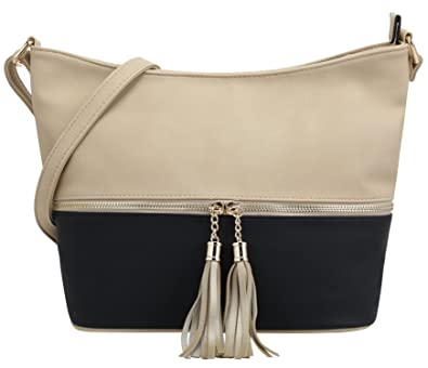 f95c59047896 Amazon.com  DELUXITY Medium Size Hobo Crossbody Bag with Tassel Zipper  Accent (Beige Black)  Shoes