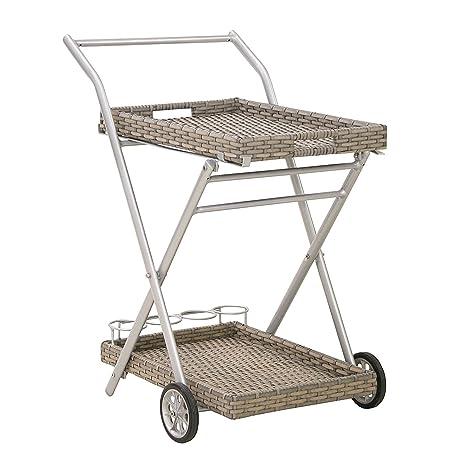 Meinposten Camarera ratán Bandeja carro aluminio mesa auxiliar mesa de jardín Bandeja carro