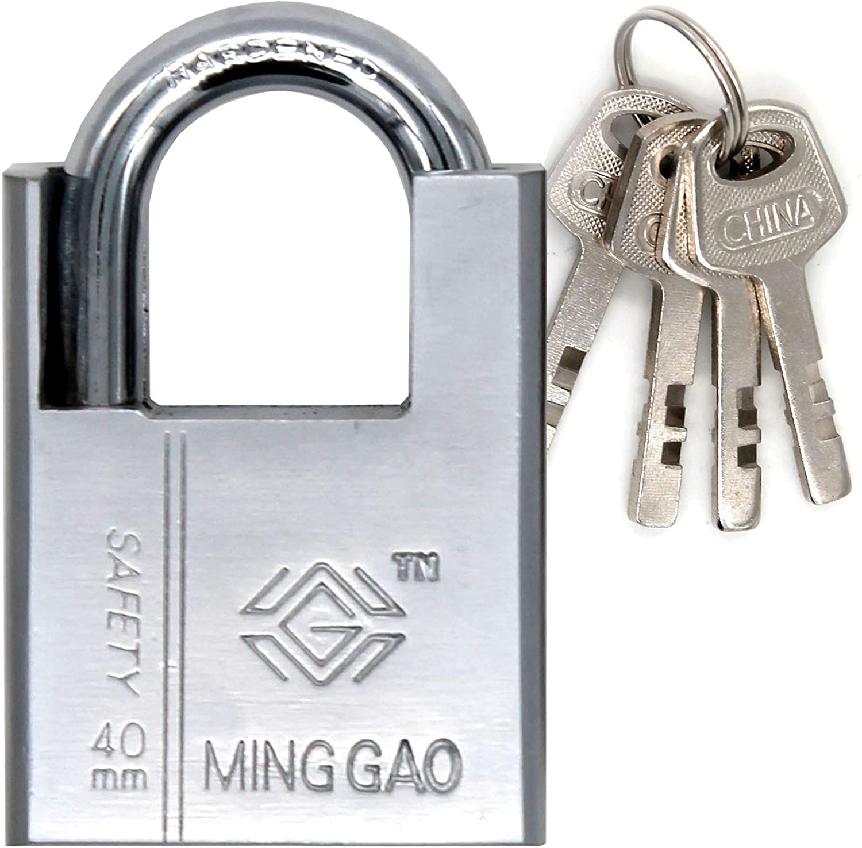 Candado de acero con llaves (SEGURIDAD DE SERVICIO PESADO) 100% impermeable - Cerradura segura Puertas, cobertizos, casilleros, caja de herramientas o contenedores interiores o exteriores.