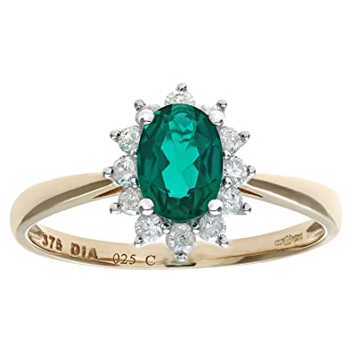 Naava Round Brilliant 0.25ct Emerald and Diamond 9ct Gold Oval Cluster Ring 5bkXqehrzU