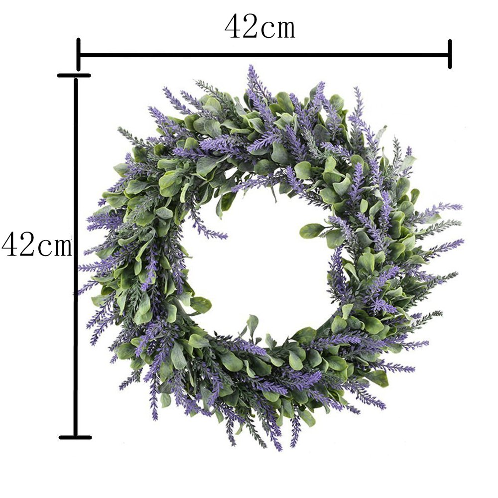 Evoio Artificial Lavender, 17'' Wreath DIY Silk Flowers Garland Pendant for Front Door Wall Home Wedding Decoration- purple by Evoio (Image #3)