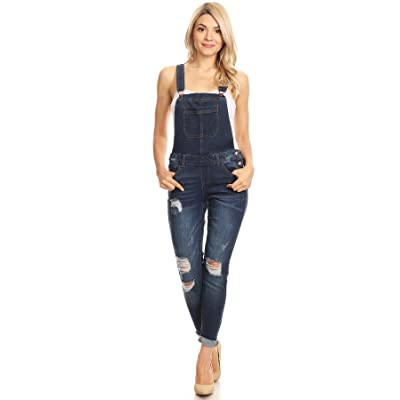 wax jean Women's Junior Ankle Length Skinny Leg Distressed Denim Overalls: Clothing