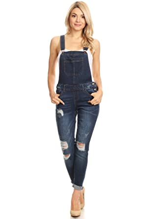 638a4bfb4ae Amazon.com  wax jean Women s Junior Ankle Length Skinny Leg Distressed Denim  Overalls  Clothing