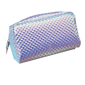 Holographic Cosmetic Makeup Bag Waterproof Iridescent Large Protable Toiletry Travel Wash Pouch(shiny blue)