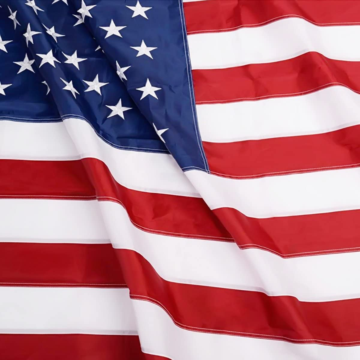 Anley EverStrong Series American US Flag 4x6 Foot Heavy Duty Nylon - Embroidered Stars and Sewn Stripes - 4 Rows of Lock Stitching - USA Banner Flags with Brass Grommets 4 X 6 Ft