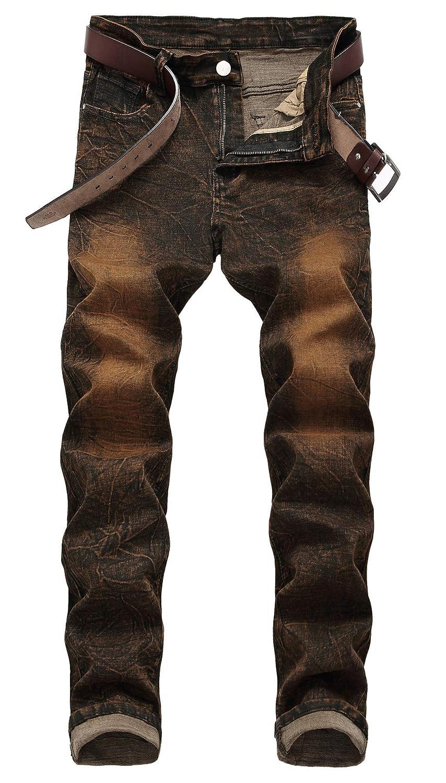 FEESON Men's Stylish Multi-Color Retro Washed Broken Slim Fit Moto Biker Jeans