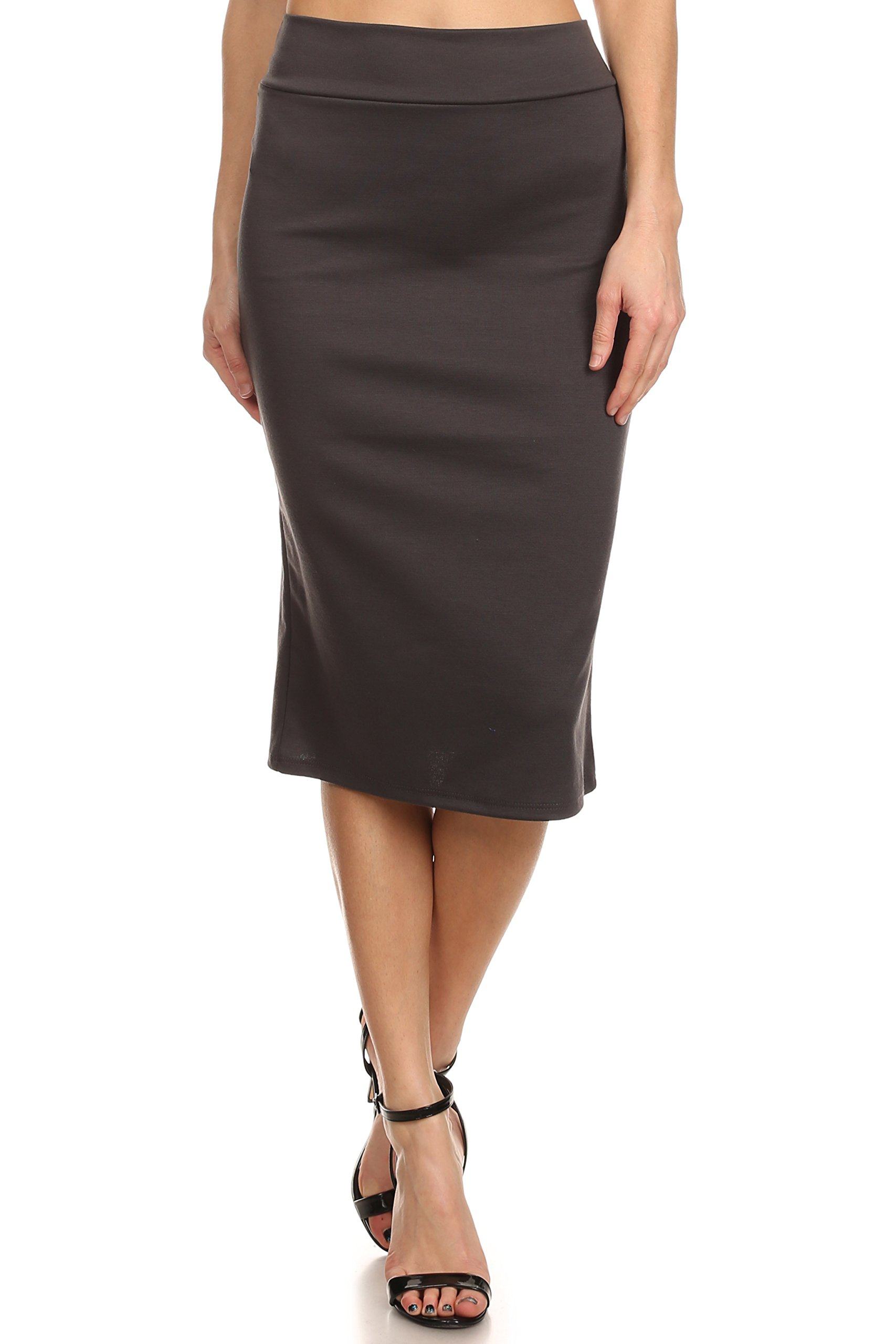 Simlu Women's Below the Knee Pencil Skirt for Office Wear - Made in USA ,Dark Grey ,Medium