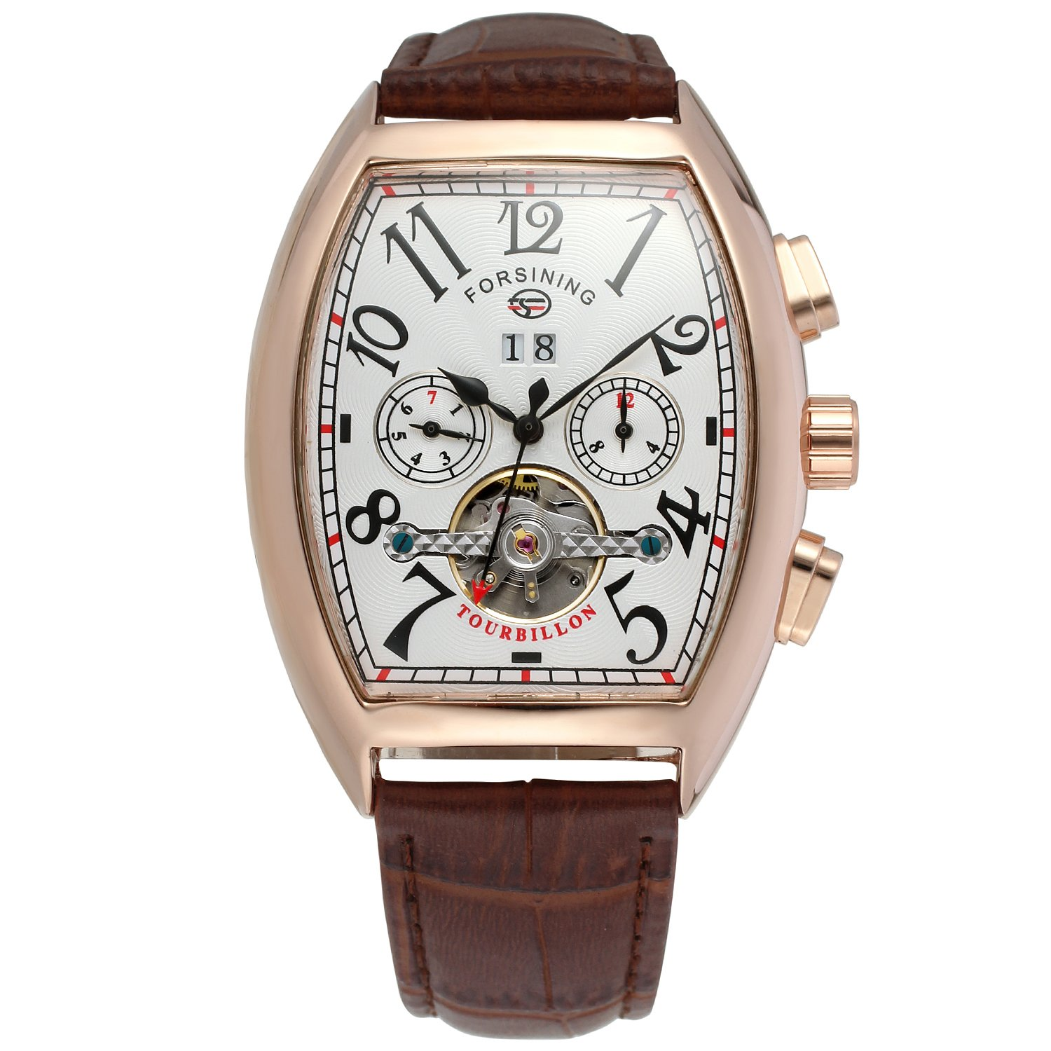 Amazon.com: Forsining Mens Automatic Self-winding Tourbillon Calendar Brand Learher Strap Collectiton Watch FSG9409M3R4: Watches