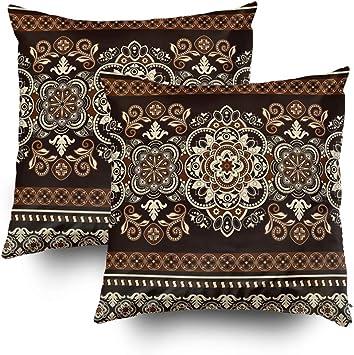 TOMWISH 2 Packs Hidden Zippered Pillowcase Fall Seasonal Pattern Home Decor 16X16Inch,Decorative Throw Custom Cotton Pillow Case Cushion Cover for Home