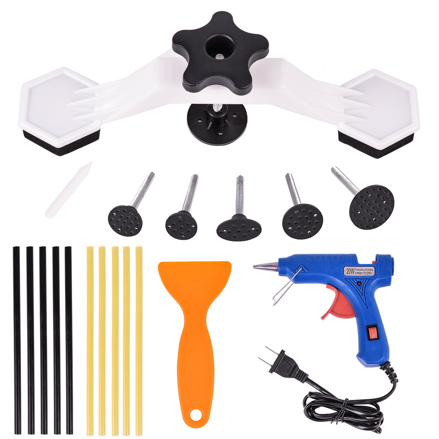 Queenti Car Body Dent Bridge Puller Tool Kits, Pop a Dent Paintless Ding Repair PDR Tools with 20w Hot Melt Glue Gun and 10pcs Glue Stick, Glue Shovel for Car Auto Truck Motorcycle Dent Removal by Queenti (Image #1)