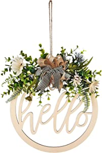 Christmas Welcome Sign Wooden Hanging Sign Hollow Carved Decor Front Porch Decorations for Christmas,Restaurant, Home, Outdoor with LED String Line (Hello)