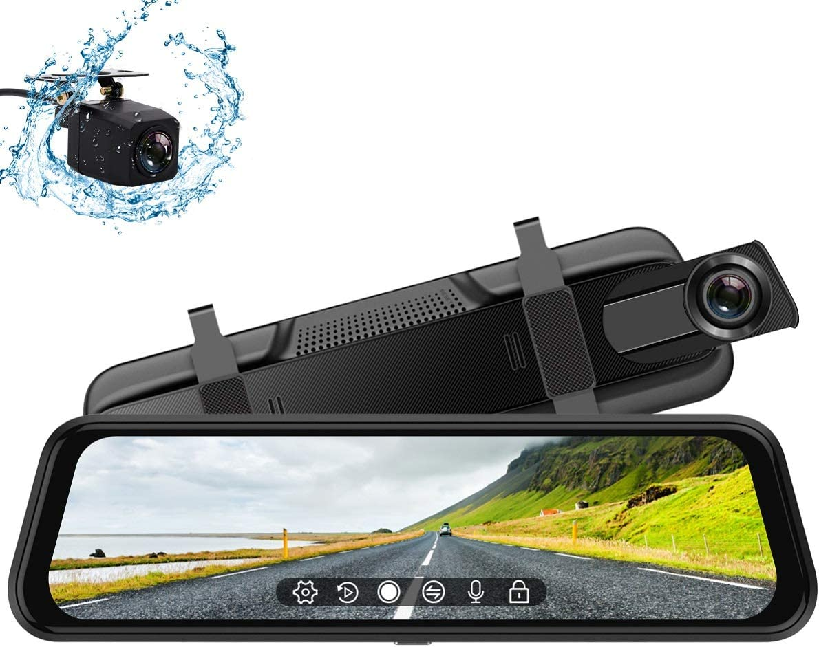 Backup Camera, 10Inch 1080P HD Mirror Dash Camera, Rear View Front and Rear Dual Lens with Loop Record, G-Sensor, 1080P Waterproof Reversing Assistance Camera, Parking Monitor, Touch Screen [GRC]
