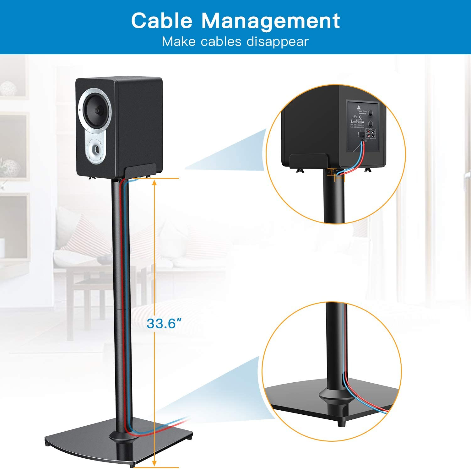 Pioneer Play:3 Klipsch Sony PERLESMITH Universal Speaker Stands- for Sonos Play:1 Bose Yamaha Polk /& Other Bookshelf Speaker-Heavy Duty Floor Stands with Cable Management-1 Pair