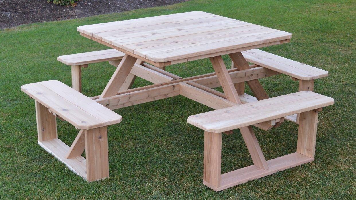 A&L Furniture 44'' Amish-Made Square Cedar Walk-in Picnic Table with Umbrella Hole, Cedar Stain