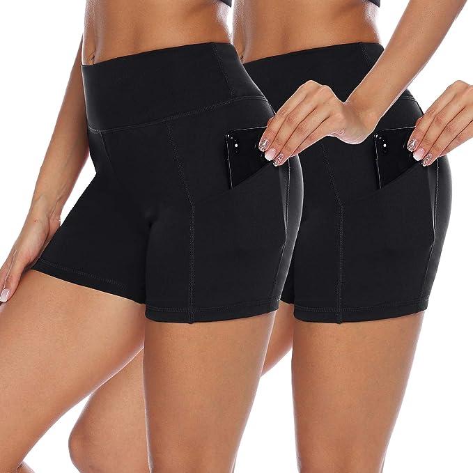 Amazon.com: AUU pantalones cortos de yoga de cintura alta ...