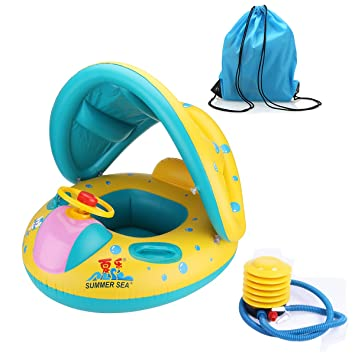 Inflatable Baby Pool Float Swimming Ring Children Toddler Aid Seat Boat With Sun Canopy For The