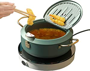 Japanese Deep Frying Pan, Nonstick Tempura Deep Fryer Pot Stainless Steel with Thermometer and Oil Drip Rack Lid for Chicken Fish and Shrimp(Green)