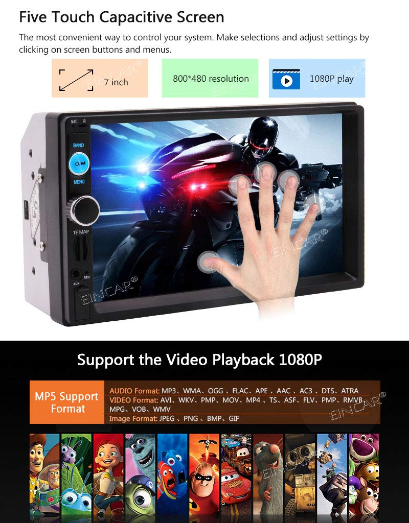 7 Inch Car Stereo 2 Din MP5 Player Car Radio Stereo Bluetooth HD Touch Screen with Reverse Camera Support GPS Navigation USB SD FM Radio Mirror Link Function