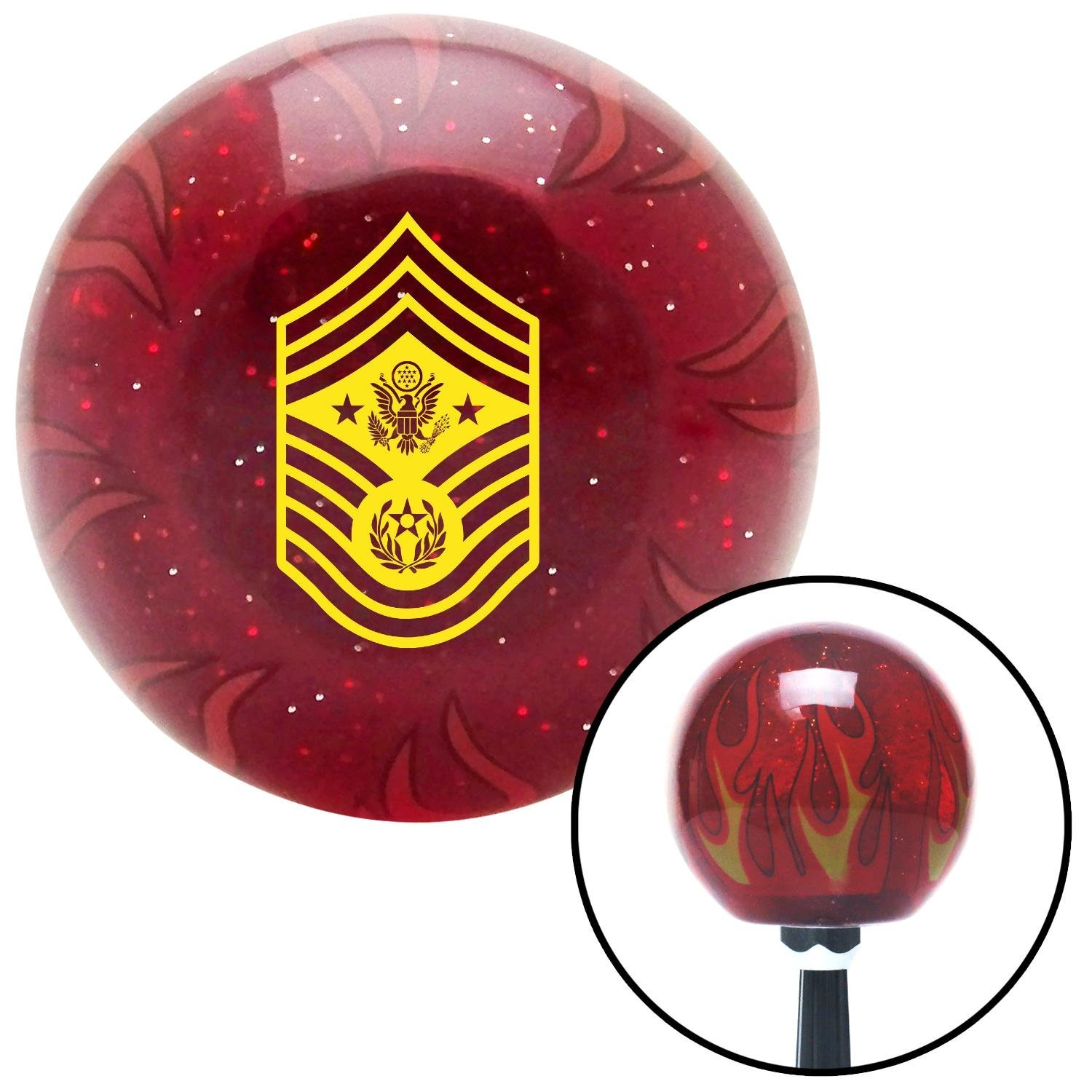 American Shifter 262729 Green Flame Metal Flake Shift Knob with M16 x 1.5 Insert Yellow Chief Master Sergeant of The Air Force