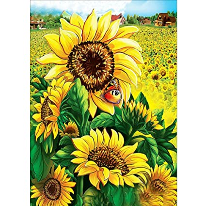 Diamond Painting Kits Full Drill 5D DIY Rhinestone Embroidery Cross Stitch Arts Craft for Home Wall Decor Rainbow Sunflower 30x30cm