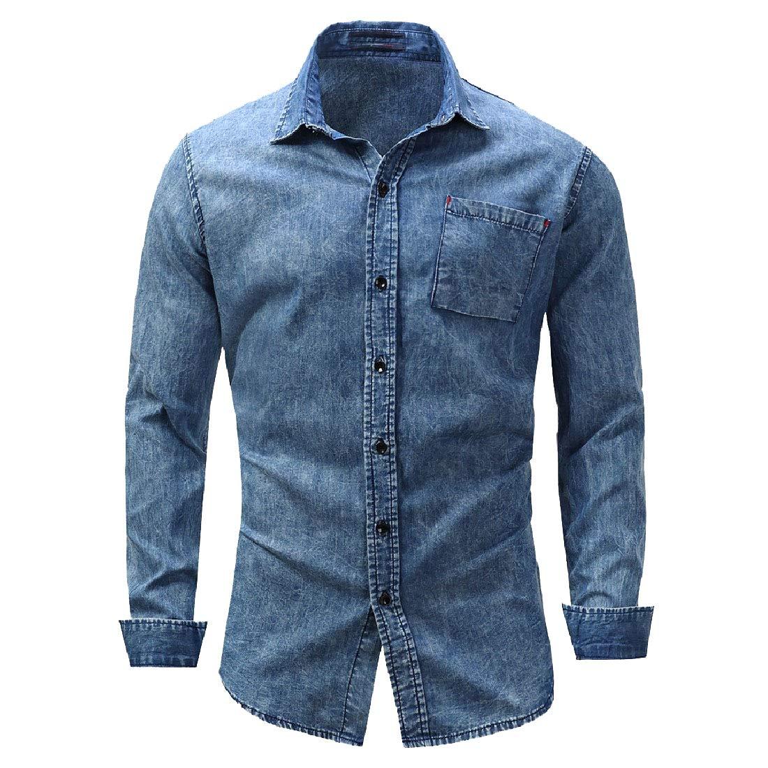 SportsX Mens Flat Collar Denim Cotton Long Sleeve Leisure Western Shirt