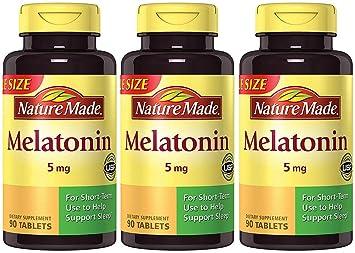 Nature Made Maximum Strength Melatonin 5 mg, 90 Tablets (3 Bottles)