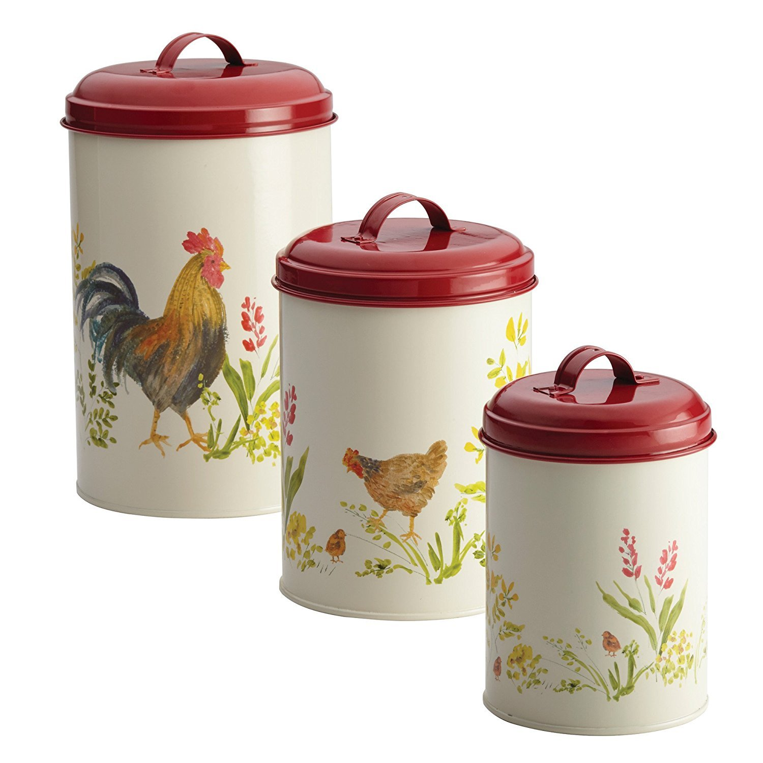 amazon com french country canister set kitchen storage paula deen 46595 3 piece garden rooster pantry ware food storage canister set large print