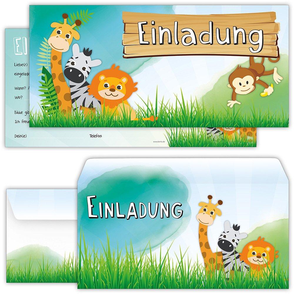 Set: 12 Große Einladungskarten Tiere Mit 12 Umschlägen Zum Kindergeburtstag    Auch Für Einen Ausflug