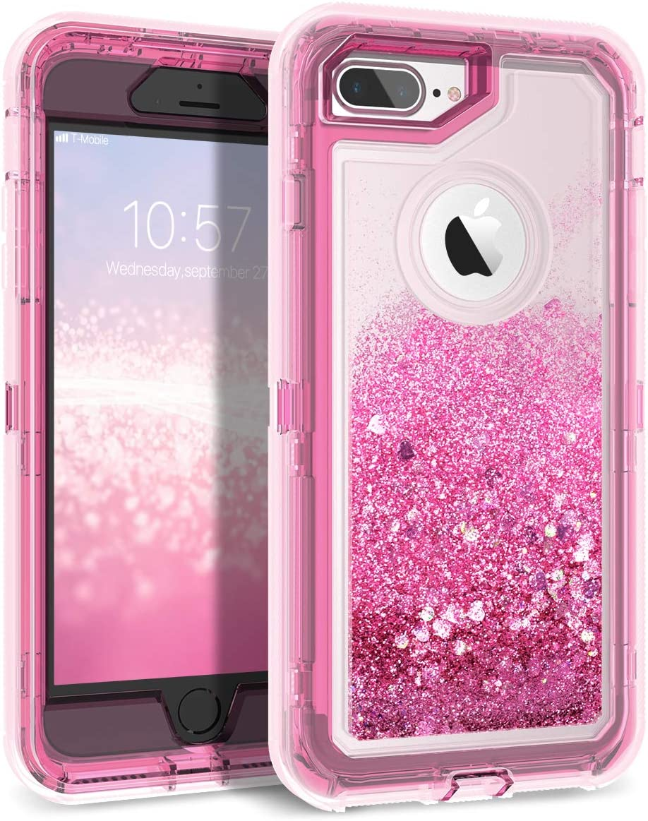 Dexnor iPhone 7 Plus Case Glitter 3D Bling Sparkle Flowing Liquid Transparent 3 in 1 Shockproof TPU Silicone Core + PC Frame Protective Defender for iPhone 8 Plus/7 Plus/6s Plus - Pink