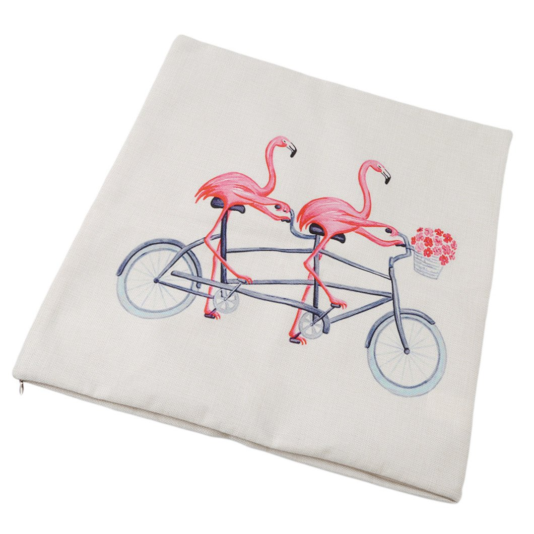 Cycling flamingo Gluckliy Cartoon Cute Pink Flamingo Printing Pillowcase Decorative Throw Pillow Case Cushion Cover for Sofa Car Home Decor