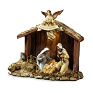 The San Francisco Music Box Company Nativity Stable with Holy Family Figurine