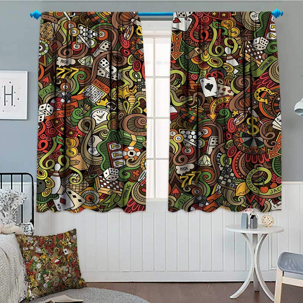 Anniutwo Casino Room Darkening Curtains Doodles Style Artwork of Bingo and Cards Excitement Checkers King Tambourine Vegas Decor Curtains By 72'' W x 45'' L Multicolor by Anniutwo