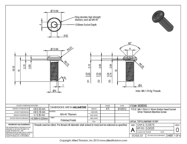 Grade 5 M6-1 Pitch X 16mm Button Head Socket Drive Machine Screw Ti-6Al-4V Allied Titanium 0028393, Pack of 5