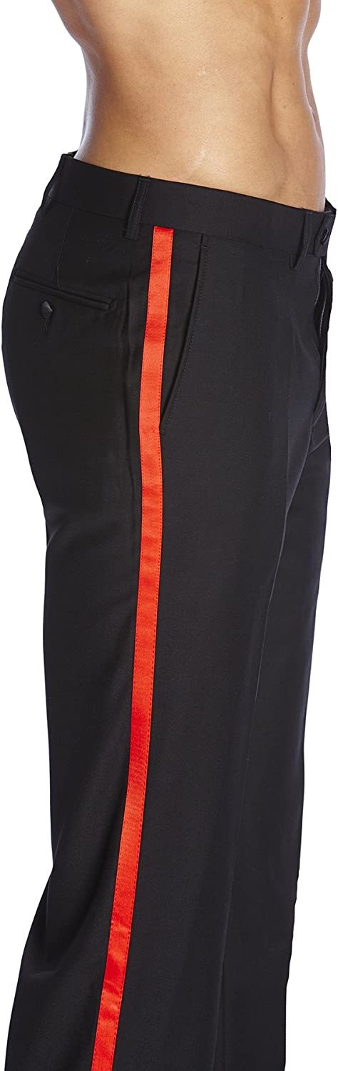 CONCITOR Mens TUXEDO Pants Tux Flat Front RED Satin Band Solid BLACK Color